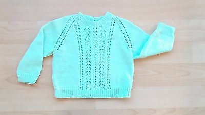 Baby Boy / Girl  / Toddler Hand Knitted Light Green Jumper Very Good Condition
