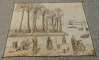 Large Vintage French Beautiful Arabian Scene Tapestry 164X125cm (A540)