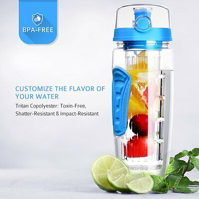 900MLFruit Infusing Infuser Water Bottle BPA Free Plastic Sports Detox Health US