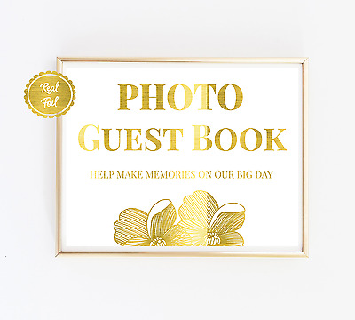 Photo guest book sign in gold foil // Wedding guest book print poster foiled