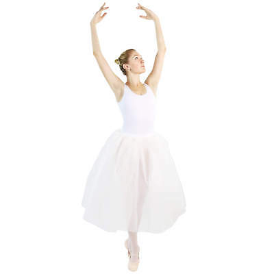Danzcue Womens Long Two Layers Elastic Waistband Tutu Skirt
