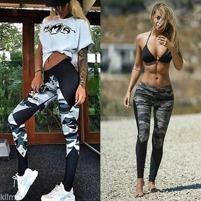 Athletic Women's Yoga Tights Sport Camo Pants Gym Casual Skinny Workout Trousers