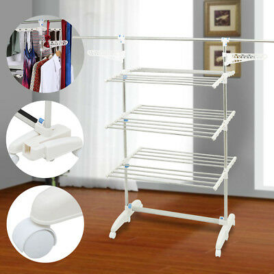 Foldable 6 Tiers Indoor Clothes Hanger Display Laundry Rack Cloth Garment Dryer