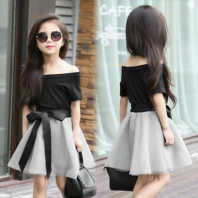 2PCS Toddler Infant Baby Girls Short Sleeve Black Tops + Skirt Kids Clothes Sets