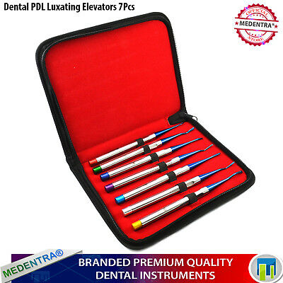 MEDENTRA® Periodontal Dental PDL Luxating Extraction Root Elevators X7 + Pouch