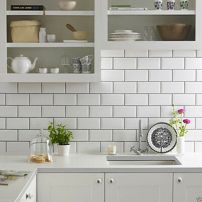GLOSS WHITE METRO BEVELLED BRICK KITCHEN  CERAMIC WALL TILES 10 x 20cm