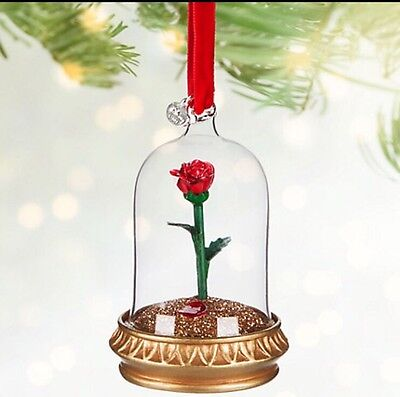 Disney Beauty And The Beast Rose Light Up Christmas Tree Decoration Ornament