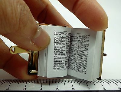 1:12 Scale Single Large Opening Metal Cover Bible Dolls House Church Accessory