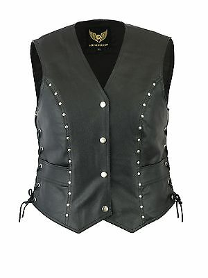 Black studded ladies biker leather waistcoat vest UK Stock