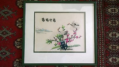2 x Vintage Japanese Signed Silk Pictures Hand Embroidered Cranes & Flowers