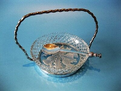 Beautifully Elegant Little Antique Silver Plated & Cut Crystal Chutney Dish