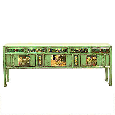 """Chinese Asian 77"""" Long Green Blue Lacquer Cabinet Console Sideboard Buffet"""