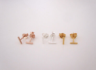 Yellow or rose gold or sterling silver tiny bar studs earrings