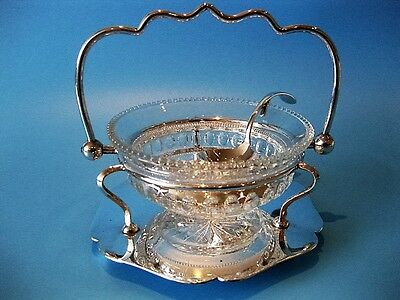 Beautiful Antique Victorian Silver Plate & Cut Glass Jam / Chutney Dish