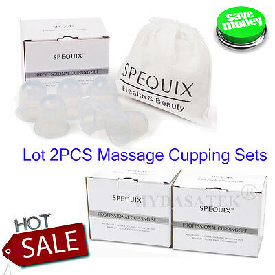 2X SPEQUIX 6PCS Silicone Massage Cups Set Pro Vacuum Therapy Cupping CUp Clear