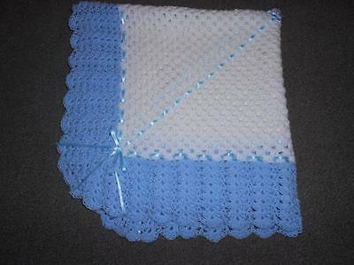 White & Baby Blue 40 Inches Hand Crochet Photo Prop Baby, Reborn Blanket , Shawl