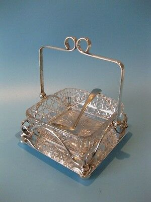 Very Lovely Antique Victorian Silver Plate & Cut Glass Jam / Chutney Dish