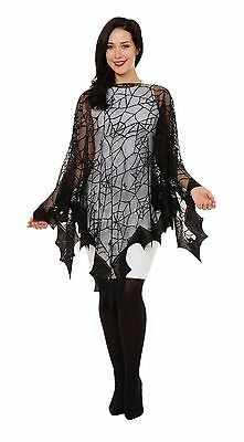 Ladies Spider Web & Bat Witches Fishnet Cape Halloween Fancy Dress Party