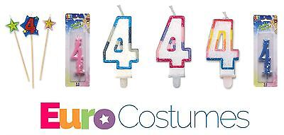 Number 4 4th Candles 12 Designs Birthday Cake Topper Decoration Party