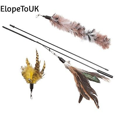 Cat Toy Feather Wand Includes 3x Refills These Natural Feathers are...