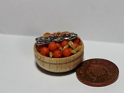 1:12 Scale Bowl Of Nuts & Nut Cracker Miniature Dolls House Food Snack Accessory