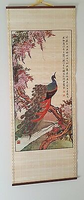 Vintage Bamboo Painted Peacock Wall Scroll Hanging Marked Duo