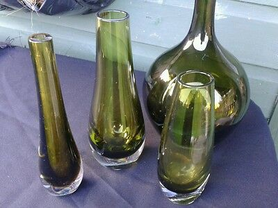 Vintage retro- mid-century - green glass vases x 4 Whitefriars plus others