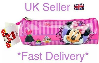 Girls New Pink Disney Minnie Mouse Barrel Pencil Case 23.5x8cm Approx