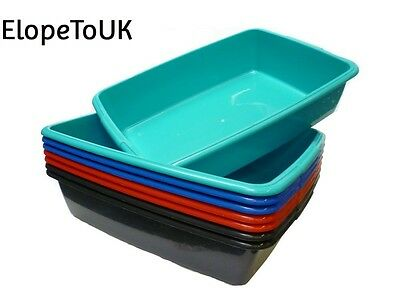 Whitefurze Plastic Large Cat Litter Tray From 4 Colours Black