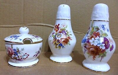 VINTAGE BONE CHINA 3 PIECE FLORAL DESIGN CRUET SET BY HAMMERSLEY 1940's  (B2)