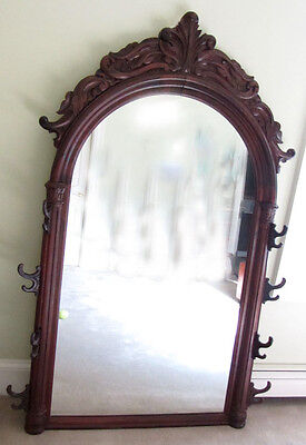 ANTIQUE ORNATE FINELY CARVED TALL 1800's MIRROR WALNUT OR ROSEWOOD, WOOD CRATED
