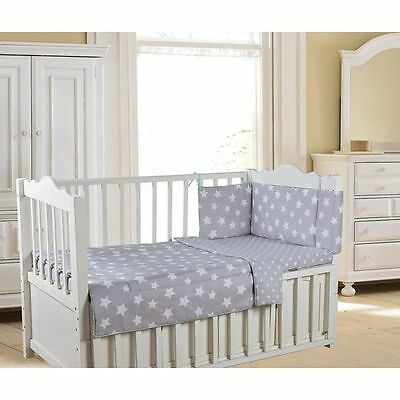 New 3 Piece Reversible Baby Bedding Set/Bundle 100x120 - Grey Stars