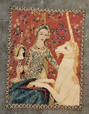 Vintage French Lady With Unicorn Tapestry 123X88cm (A690)