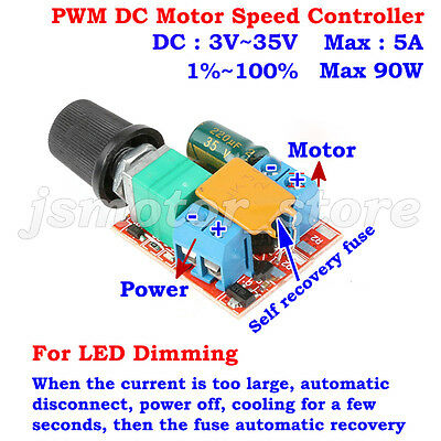 3v 35v 12v 24v 5a Pwm Dc Motor Speed Controller Adjustable