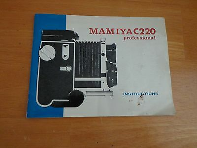 Mamiya C220 Professional 6x6 TLR Inst Book - Owner's Manual + Free Shipping