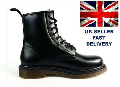 8 eyelet Style Hipster Boots Lace Up Retro Faux Leather Air Sole Chelsea Boots