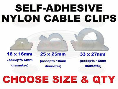 NYLON CABLE CLIPS SELF ADHESIVE FOR CABLE,WIRE,CONDUIT BLACK 16MM 25MM 28MM