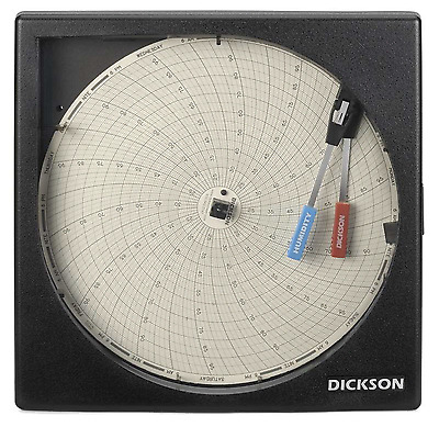"New! Dickson 8"" Temperature & Humidity Chart Recorder, 24 Hr, 7 Day, Th8P0"