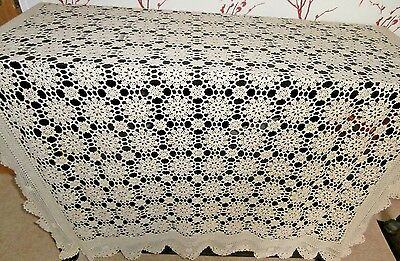 "STUNNING VINTAGE BEIGE HAND CROCHET COTTON LACE LARGE TABLECLOTH ~ 76"" x 54"""