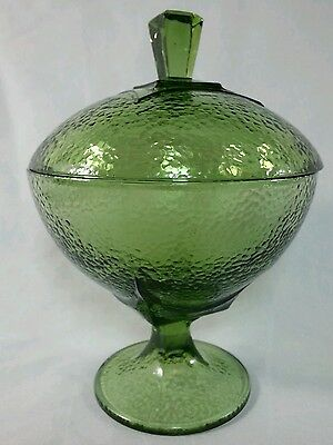 Vintage Forest Green Hazel Atlas Glass Pebblestone Colony Candy Dish With Lid