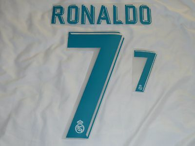 New RONALDO 7 2017-18 Madrid Home Iron On Name & Number Set For Football Shirt