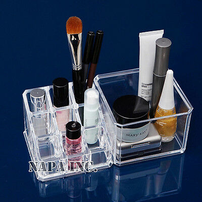 2-Tier Clear Acrylic Makeup Organizer Cosmetic Case Nail Polish Home Storage Box