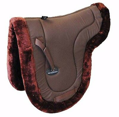 New FULLY LINED MINK Quilted Round Saddle Pad Numnah Soft Size FULL PONY COB