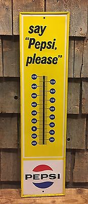 Vintage Original SAY PEPSI PLEASE Soda Drink Thermometer Shell Advertising Sign
