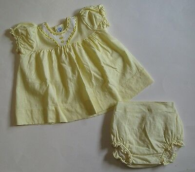 1960s vintage Carter's yellow cotton infant-baby dress with pants, size 6 months