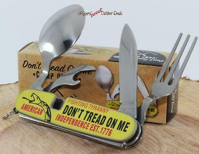 Don't Tread On Me Fork Spoon Can Opener Camping Hunting Multi-Tool Knife