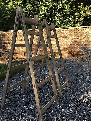 Paid of Antique shabby chic wooden trestle orchard ladder display shelves
