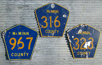 ORIGINAL McMINN COUNTY TENNESEE ROAD SIGN LOT METAL HIGHWAY VINTAGE old WALL