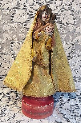 Antique Vtg Our Lady Manaoag Philippines Virgin Mary Child Handmade Cloth Statue