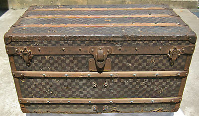 Rare Large 1890 Louis Vuitton Damier Antique Steamer Travel Trunk Checkerboard